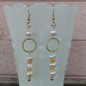 Freshwater Pearl Earrings on Gold Tone